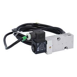 5/2-Wege-Magnetventil, Namur DN6, 24VDC-Ex, 3-10bar, mit Handnotbet., Alu/NBR, 3m Kabel