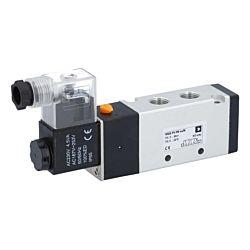 "5/2-Wege Magnetventil 1/4"", 230V 50/60Hz, 6bar, mit Handnotbetätigung, Alu/NBR"