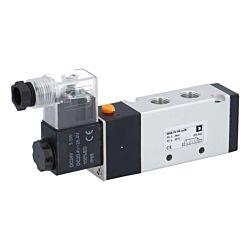 "5/2-Wege Magnetventil 1/4"", 24V DC, 6bar, mit Handnotbetätigung, Alu/NBR"