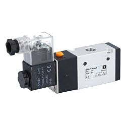 "3/2-Wege Magnetventil 1/4"", 24V DC, 2-10bar, mit Handnotbetätigung, Alu/NBR"
