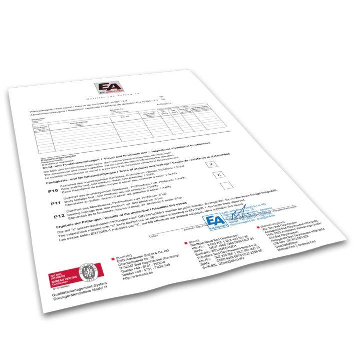 Werkszeugnis DIN EN 10204-2.2, Versand erfolgt sep. mit der Rechnung