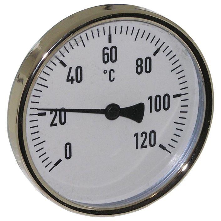 Thermometer, Stahl, Ø100mm, Schaftlänge: 100mm, 1/2