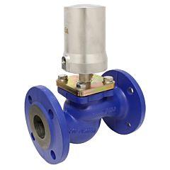 Druckgesteuertes Ventil, DN40, SK80-Ms., BR, GG/PTFE, PN16, Ruhe zu, mit Medium