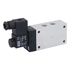 "5/2-Wege Magnetventil 1/4"", 230V 50Hz, 3-10bar,mit Handnotbet. Alu/NBR"