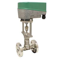 Motorregel-Nadelventil, DN15, FL, 24VAC/DC, , Edel./Metall-PTFE, Q=10-100l/h, bei delta p 1bar,
