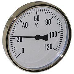 """Thermometer, Stahl, Ø100mm, Schaftlänge: 100mm, 1/2""""-axial, Anzeigebereich: 0 bis 120°C"""