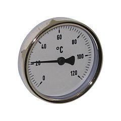 """Thermometer, Stahl, Ø63mm, Schaftlänge: 63mm, 1/2""""-axial, Anzeigebereich: 0 bis 120°C"""