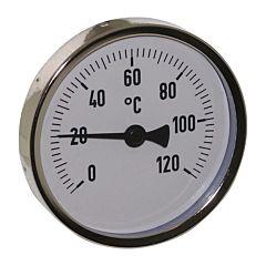 """Thermometer, Stahl, Ø80mm, Schaftlänge: 63mm, 1/2""""-axial, Anzeigebereich: 0 bis 120°C"""