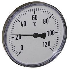 """Thermometer, Kunststoff, Ø100mm,Schaftlänge:63mm, 1/2""""-axial, Anzeigebereich: 0 bis 120°C"""