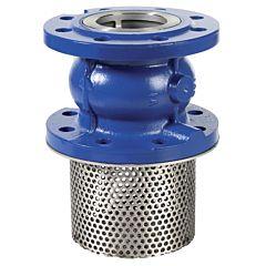 Fußventil DN100, Grauguß, NBR, PN16, Stahl Filter, Temp.: -10°C bis +100°C