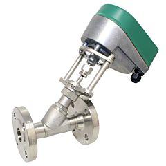 Motorregelventil, DN80, Schrägsitzgeh, RK-FL, Edel/PTFE, 24VAC/DC, St-R=Stet.-Regelung