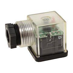 Gerätestecker, 230V AC/DC, DIN-EN175301-803, LED/rot, Schutzbeschaltung, M20x1.5