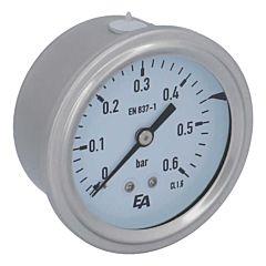 Manometer, d63, 0-0.6bar, axial, mit Glyzerinfüllung