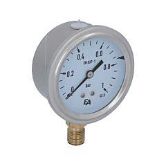 Manometer, d63, 0-1bar, radial, mit Glyzerinfüllung