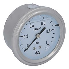 Manometer, d63, 0-1bar, axial, mit Glyzerinfüllung