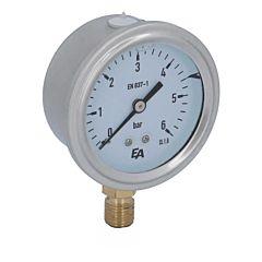 Manometer, d63, 0-6 bar, radial, mit Glyzerinfüllung