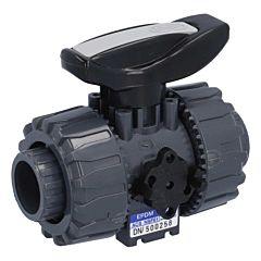 2-Wege Kugelhahn SH, DN20, Klebemuffe d25, PN16, PVC-U/PTFE-EPDM, mit gesicherter Überwurfmutter