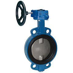 Absperrklappe DN400, PN16, Baulänge EN558-20, GGG/FKM/Edelstahl, mit Getriebe und Handrad