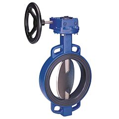 Absperrklappe DN400, PN16, Baulänge EN558-20, GGG/EPDM/Edelstahl, mit Getriebe und Handrad