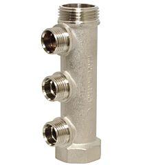 """Verteiler Messing 1"""" - 3 Abgänge 1/2"""" Außen, PN10, Achsabstand 38mm, max. Temp.: +100°C"""