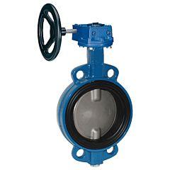 Absperrklappe DN400, PN16, Baulänge EN558-20, GGG-40/EPDM/Edelstahl 1.4408, mit Getriebe