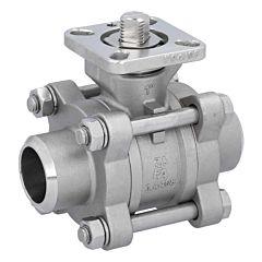 Kugelhahn DN25, PN64, 1.4408/PTFE-FKM, Anschweißenden, ISO 5211, DIN3202-S13